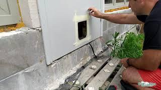 Установка уличной дверцы Ferplast Swing 5 в металлическую дверь